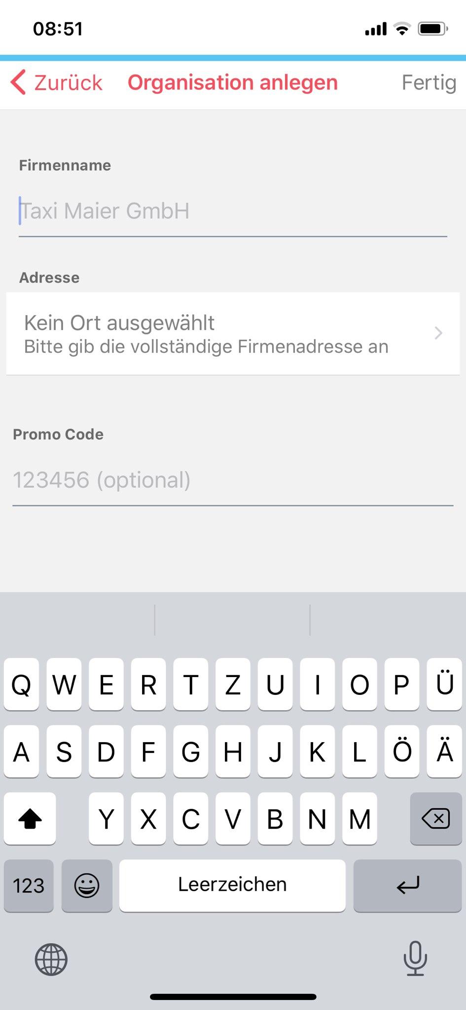 arego Organisation_anlegen_Promo_Code